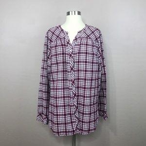 Croft & Barrow Checkered Long Sleeve Top XXL